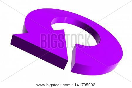 Illustrated round arrow in violet color