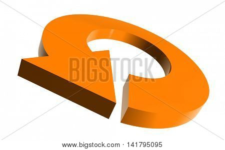 Illustrated round arrow in orange color