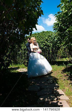 Groom kissing bride in bushes, wedding day