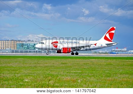 SAINT PETERSBURG RUSSIA-MAY 11 2016. OK-MEK CSA Czech Airlines Airbus A319 airplane on the runway after landing in Pulkovo airport. Airplane closeup. Arriving airplane.