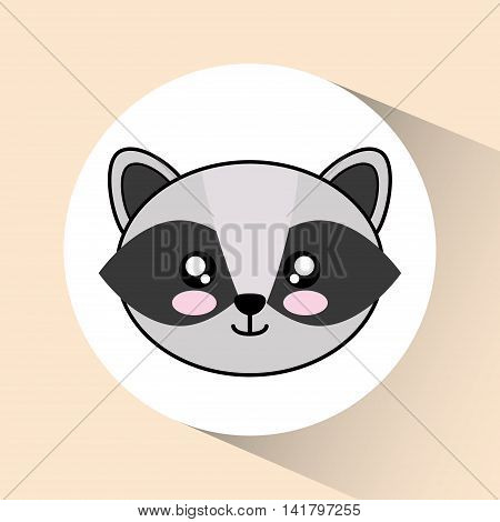 Cute animal design represented by kawaii raccoon icon over circle. Colorfull and flat illustration.
