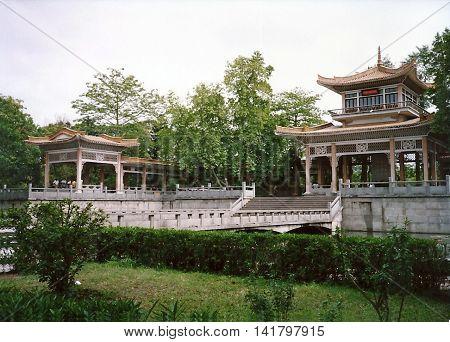 GUANGZHOU / CHINA - CIRCA 1987: Beautiful pavilions adorn Yuexiu Park in Guangzhou.