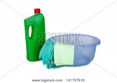 Cleaning Detergent Bottles In Basket