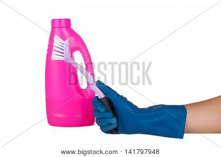 Hand With Glove Using Brush For Cleaning