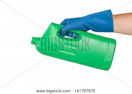 Hand With Glove Using Detergent For Cleaning