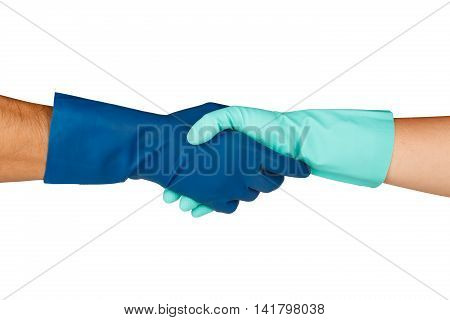 Hands Handshaking For Cleaning