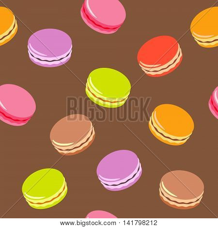 Seamless assorted macarons pattern. Macaroon background - white color.
