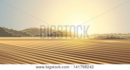 Rural autumn landscape, the sun rising over the agricultural fields.