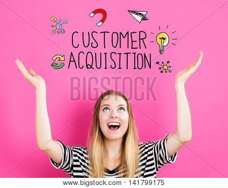 Customer Acquisition Concept With Young Woman