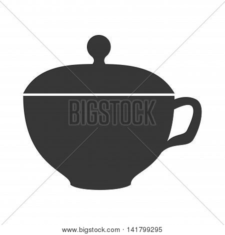 Delicious coffee served on porcelain cup, vector illustration graphic.