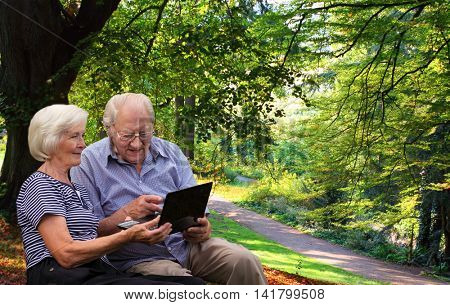 Senior couple in the park with a laptop, the man is pointing with his finger to the laptop