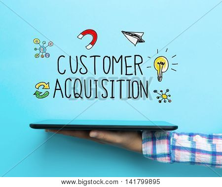 Customer Acquisition Concept With A Tablet