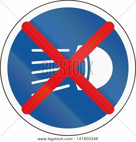 Road Sign Used In The African Country Of Botswana - Switch Headlamps Off
