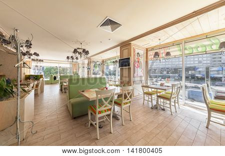 MOSCOW - JULY 2014: Interior is a stylish chain restaurant of Japanese and Italian cuisine