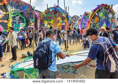 Sumpango Guatemala - November 1 2015: Locals make kite at giant kite festival on All Saints' Day honoring spirits of dead.