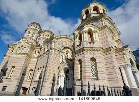 RIGA LATVIA SEPTEMBER 18 2015: Riga Nativity of Christ Orthodox Cathedral was built by Nikolai Chagin in a Neo Byzantine style, during the period when the country was part of the Russian Empire.
