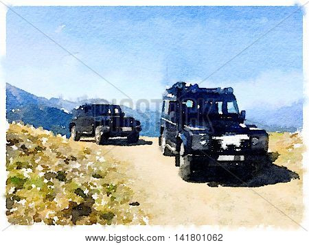 Digital watercolor painting of two 4x4 vehicles on top of a mountain. With space for text.