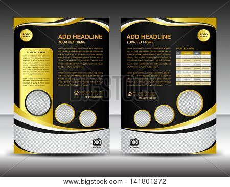 Gold and black business brochure flyer design layout template in A4 size, poster, leaflet, ads, newsletter, cover, annual report, magazine ads, catalog, book