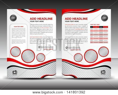 Red business brochure flyer design layout template in A4 size, poster, leaflet, ads, newsletter, cover, annual report, magazine ads, catalog, book