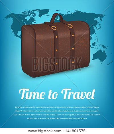 Suitcase for traveling on the background of the world map. Travel and Tourism. Vector illustration