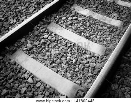 rail railroad or railway of train tracks b/w
