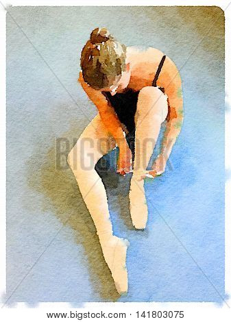 Digital watercolor painting of a ballerina sitting on the floor and putting on her pointe ballet shoes tying the ribbons on her shoe.