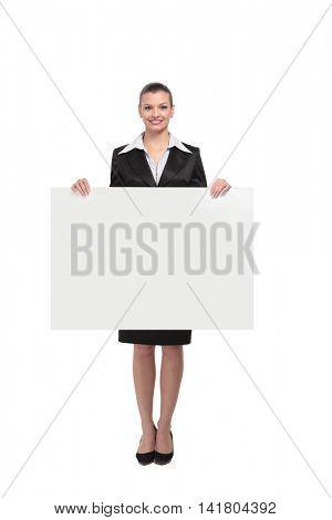 Portrait of businesswoman showing banner.