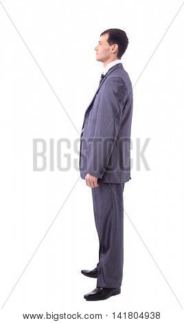 Portrait of man looking away isolated on white background