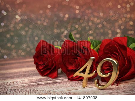 birthday concept with red roses on wooden desk. 3D render - forty-nineth birthday. 39th