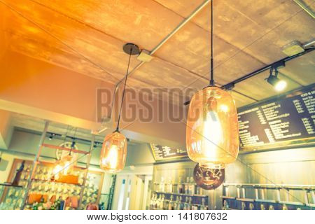 light in coffee shop
