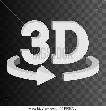 3D rotate button sign in solid grayscale colors icon on black transparent background. Blank horisontal rotation arrow. Vector illustration.