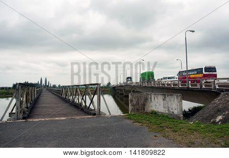 QUANG TRI, Vietnam, September 28, 2015 monuments Hien Luong Bridge, Ben Hai River crossing, the 17th parallel, Quang Tri Province, Vietnam