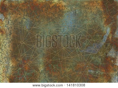 Vintage abstract background with crossed network lines on old texture for cards, textile, arts. Mystic or occult linear pattern with antique hand drawn elements