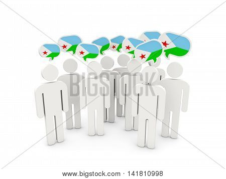 People With Flag Of Djibouti