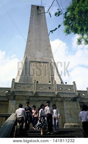GUANGZHOU / CHINA - CIRCA 1987: People visit the Sun Yat Sen Monument in Guangzhou's Yuexiu Park.