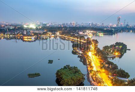 HA NOI, VIET NAM, April 30, 2016 City, Ha Noi, West Lake area, in the evening