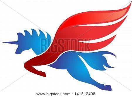 stock logo illustration unicorn horse flying red
