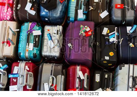 Cusco Peru - May 15 : View from above of a collection of suitcases in a variety of colors and styles in a hotel lobby in Cusco. May 15 2016 Cusco Peru.