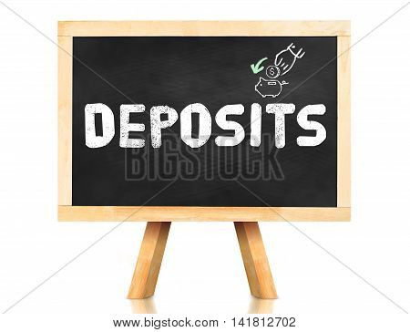 Deposits Word On Blackboard With Easel Isolated On White Background With Clipping Path At Object,ban