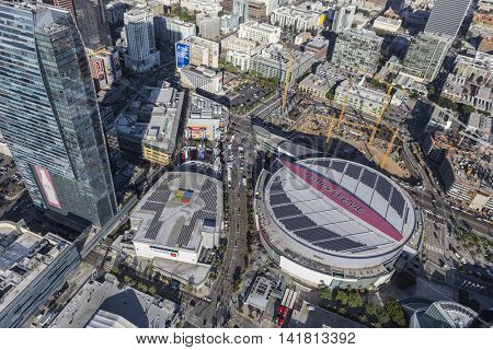 Los Angeles, California, USA - August 6, 2016:  Aerial view of Staples Center, LA Live and nearby construction.