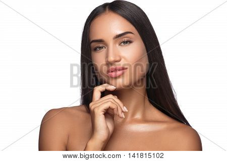 Close-up of a young woman showing chin. Isolated on white