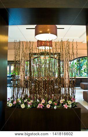 flower decoration at lobby hotel, empty lobby