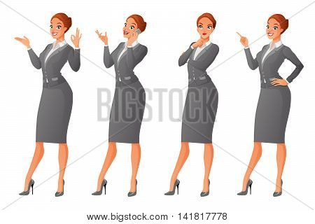 Vector set of cartoon business formal dressed woman in different poses isolated on white background: showing ok sign gesture talking on phone looking up and thinking finger pointing up.