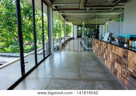 Nakhon Ratchasima Thailand - August 1 2016: The entrance and drinks at Khao Yai Art Museum.