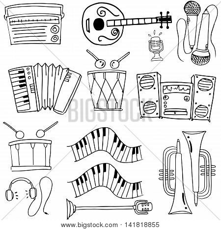 Doodle of music tools theme stock collection