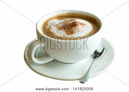 cappuccino coffee isolated white background cup of coffee