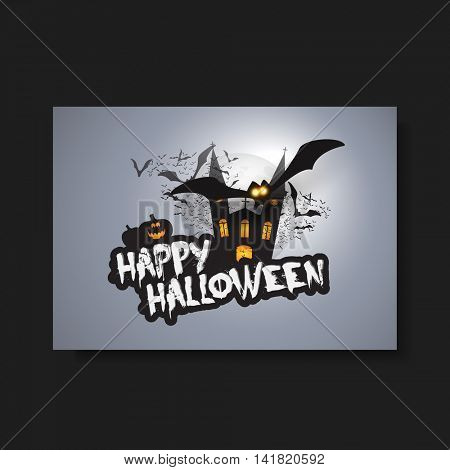 Happy Halloween Card, Flyer or Cover Template - Flying Bats Over A Dark Castle and Spooky Pumpkins with Glowing Eyes - Vector Illustration