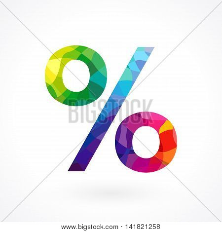 Percentage sign. Colored icon for discounts, sales and other businesses.