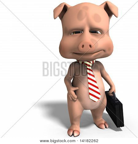 a cute toon pig as a serious business man