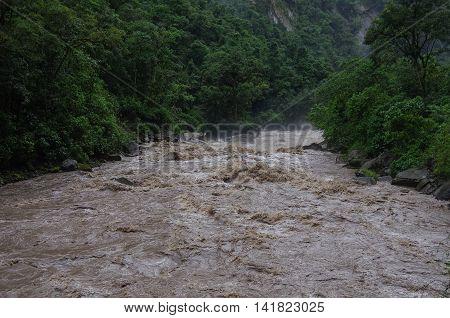 Rapids Of Urubamba River Near Aguas Calientes Village After Tropical Rain, Peru